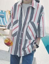 Stripes Street Style Short Sleeves Shirts