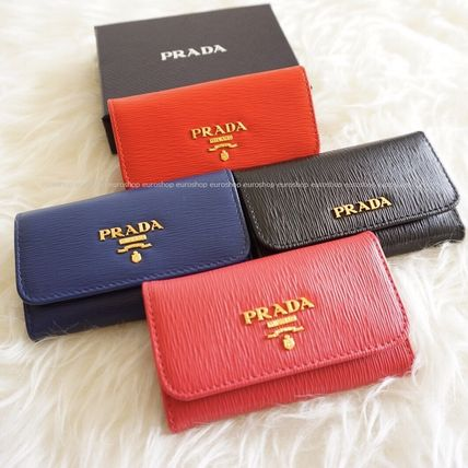 PRADA Plain Leather Keychains & Bag Charms