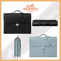 HERMES A4 Plain Leather Business & Briefcases