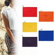 HERMES Canvas Plain Pouches & Cosmetic Bags