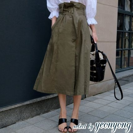 c187c39be8 2018-19AW Flared Skirts Casual Style Linen Plain Long Maxi Skirts by ...