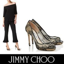 Jimmy Choo Flower Patterns Open Toe Platform Enamel Blended Fabrics
