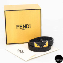 FENDI BAG BUGS Bangles Unisex Street Style Bi-color Leather Bracelets