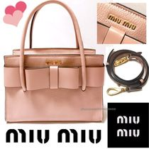MiuMiu MADRAS 2WAY Leather Elegant Style Handbags