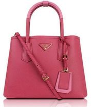 PRADA SAFFIANO LUX Pink Saffiano Cuir Leather Double Handbag