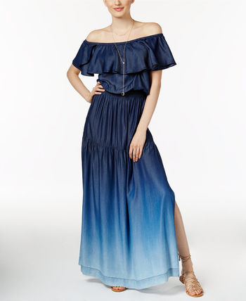 Casual Style Flared Street Style Plain Long Dresses