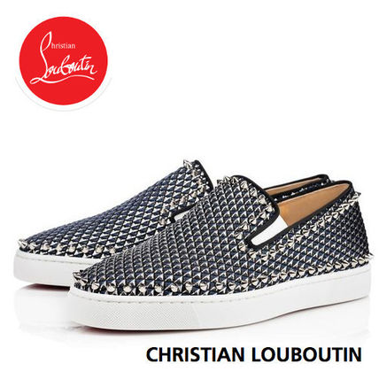Christian Louboutin PIK BOAT Plain Toe Bi-color Plain Leather Loafers & Slip-ons