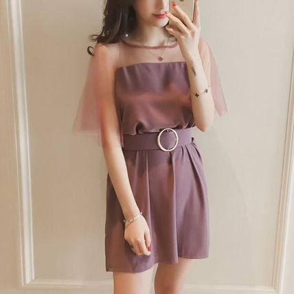 A-line Street Style Plain Medium Short Sleeves Party Dresses