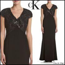 Calvin Klein Maxi Puffed Sleeves V-Neck Plain Long Party Dresses
