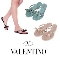 VALENTINO Studded Flip Flops PVC Clothing Flat Sandals