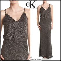 Calvin Klein Maxi Sleeveless V-Neck Plain Long Party Dresses