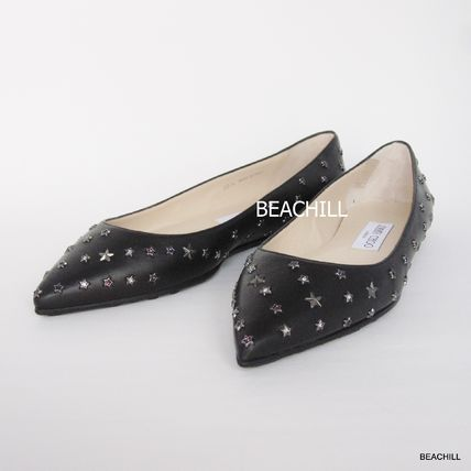 "«» JimmyChoo studded WILLIS FLAT ""BLACK"""