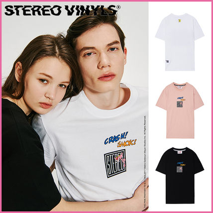 Crew Neck Casual Style Unisex Plain Cotton Short Sleeves