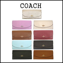 Coach Plain Leather Long Wallets