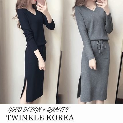 Casual Style Street Style Long Sleeves Plain Long Dresses