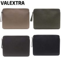 Valextra Unisex Plain Leather Clutches