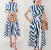 Stripes Casual Style Maxi V-Neck Long Dresses