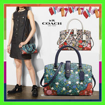 Coach MERCER Yankee Floral Print Mercer Satchel 24 Bag (Chalk/Teal)