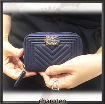CHANEL BOY CHANEL Unisex Calfskin Plain Long Wallet  Coin Cases