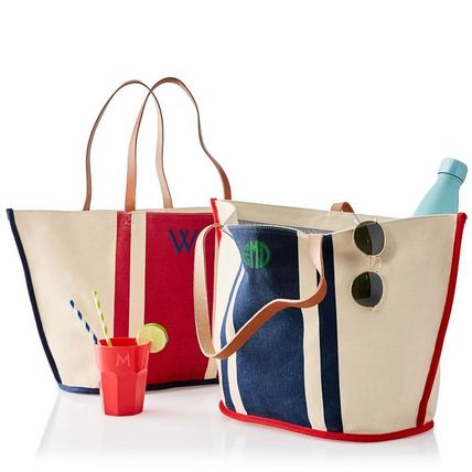 Stripes Casual Style Canvas A4 Totes