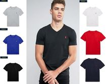 POLO RALPH LAUREN Unisex V-Neck Cotton Short Sleeves Logos on the Sleeves