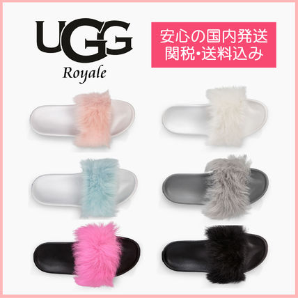 Open Toe Platform Casual Style Fur Blended Fabrics Plain