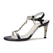SUECOMMA BONNIE Camouflage Open Toe Street Style Leather Pin Heels Python