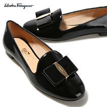 Salvatore Ferragamo Round Toe Plain Leather Block Heels Office Style