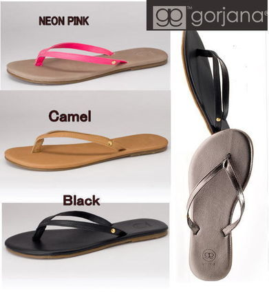 Plain Leather Flip Flops Flat Sandals