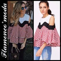 Short Gingham Casual Style Puff Sleeves Cropped