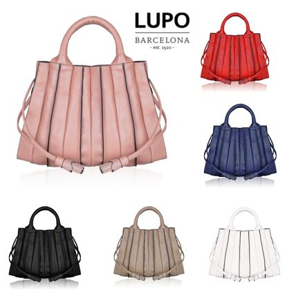 Lupo Barcelona Handbags 2way Plain Leather Office Style