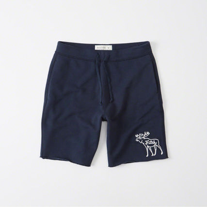 Abercrombie Moose Embroidery Sweat Shorts - Navy
