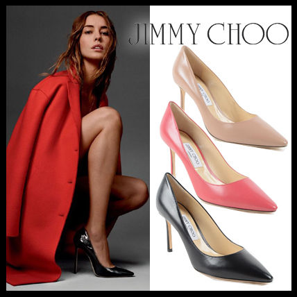 Jimmy Choo Plain Leather Pin Heels Elegant Style Stiletto Pumps & Mules