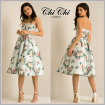 Chi Chi London Flower Patterns Flared Medium Party Dresses