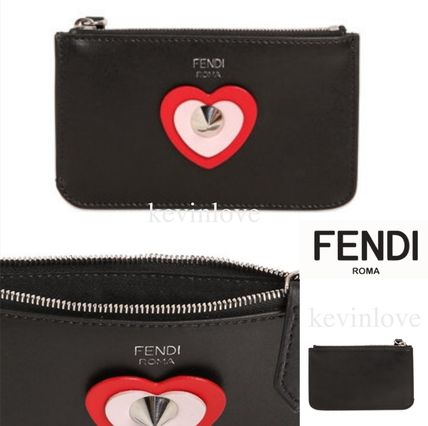 FENDI Heart Calfskin Plain Keychains & Bag Charms