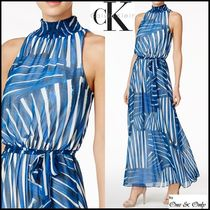 Calvin Klein Maxi Chiffon Sleeveless Long High-Neck Party Dresses