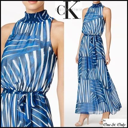 Calvin Klein Maxi Chiffon Sleeveless Long High Neck Party Dresses