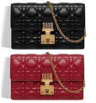 Christian Dior DIORADDICT Leather Long Wallets
