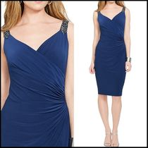 Ralph Lauren Tight Sleeveless V-Neck Plain Medium Party Dresses