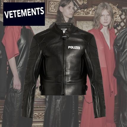 VETEMENTS mens 'Polizei' leather jacket