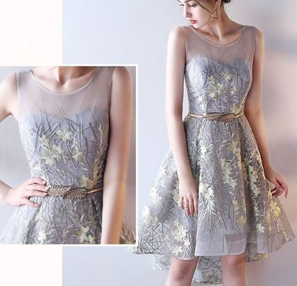 Embroidery see-through tail design dress