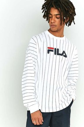 c511d66ce32e ... FILA Long Sleeve Crew Neck Pullovers Stripes Street Style Long Sleeves  Cotton ...