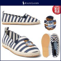 Ralph Lauren Stripes Round Toe Casual Style Slip-On Shoes