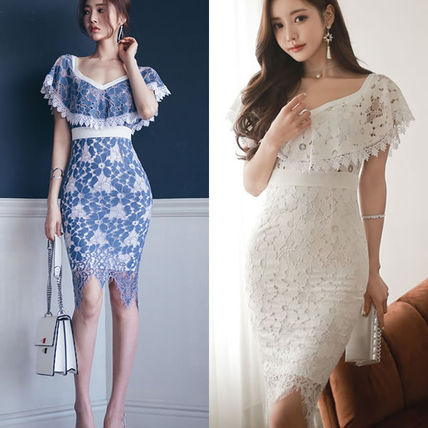 Flower lace frill shawl tight MIDI dress m