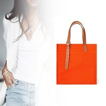 HERMES Casual Style Canvas A4 Plain Totes