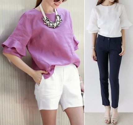 Shirts & Blouses Linen Puff Sleeves Shirts & Blouses