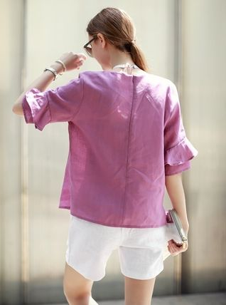 Shirts & Blouses Linen Puff Sleeves Shirts & Blouses 7