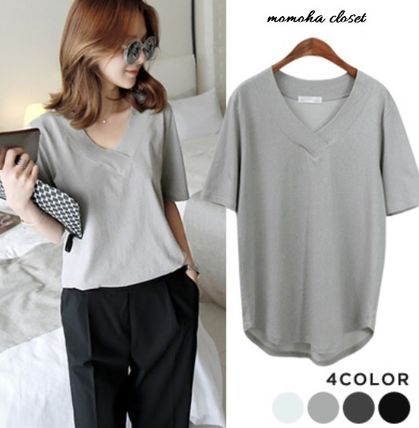 V neck round hem cotton loose T shirt
