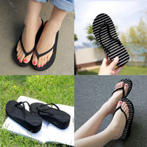 Stripes Open Toe Platform Casual Style Slippers