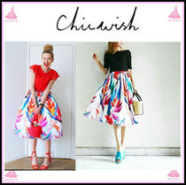 Chicwish Tropical Patterns Pleated Skirts Elegant Style Skirts